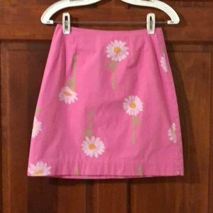 Lilly Pulitzer Pink Daisy Pencil Skirt